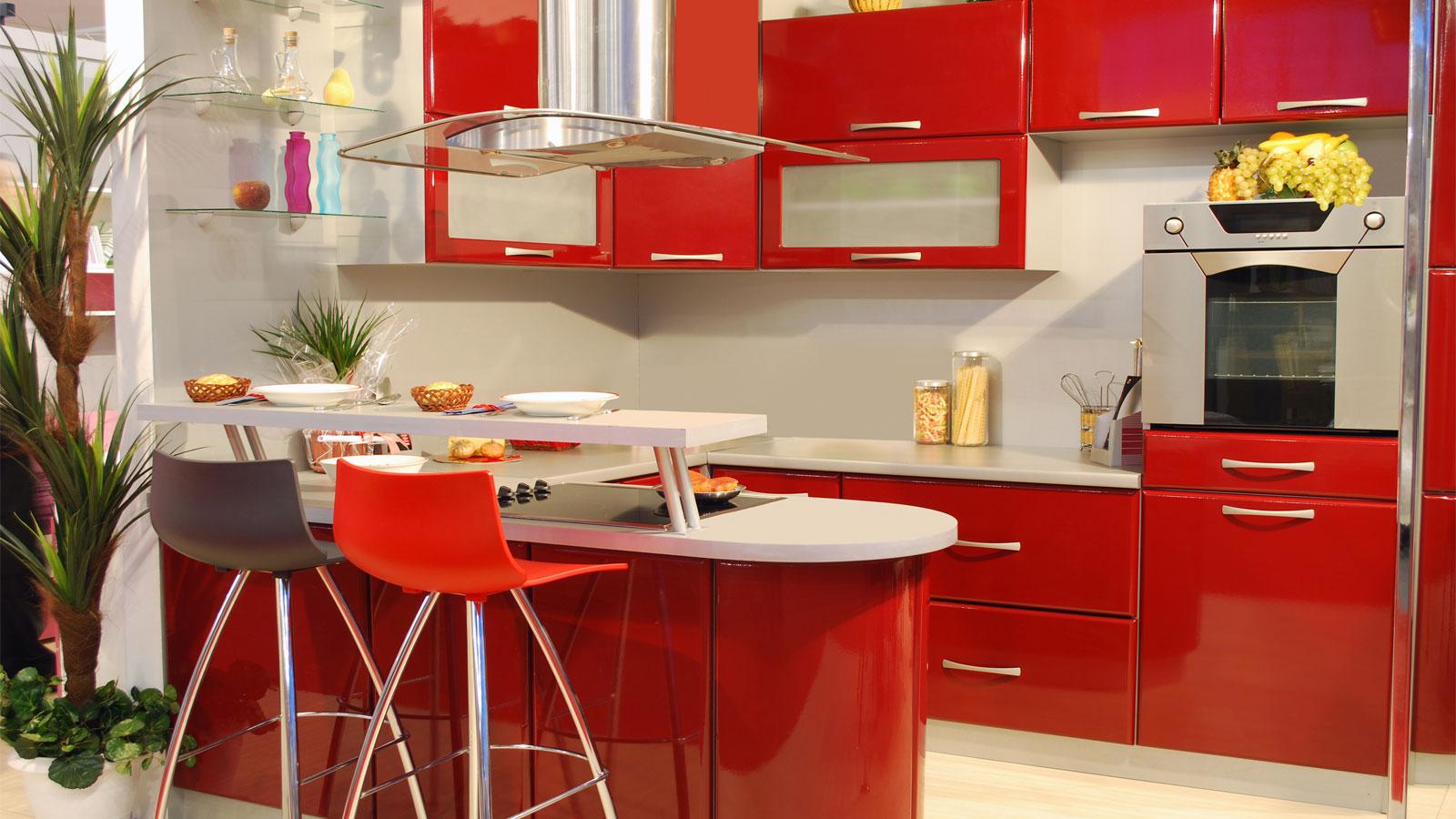 Cozinha Compacta Vermelha Beyato Com V Rios Desenhos Sobre